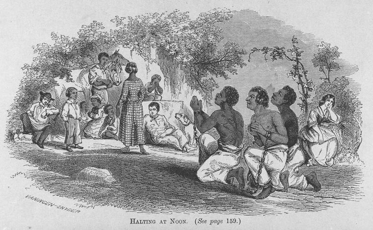 Slaves kneeling to pray while chained.